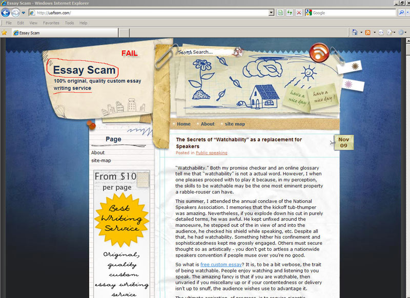 essay scam Paper writing service providing well-written custom essays at affordable prices essayontimecom is an custom essay service you can rely custom papers on.